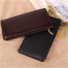 Leather Mens Wallet Long Wallet Zipper Business Credit Card Holder Case Purse