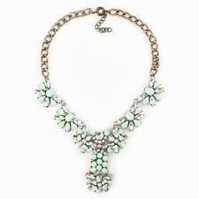 gold chain flower pendant vintage statement crystal necklace jewelry for girls