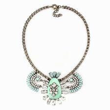 vintage gold chain big resin crystal pendant bib chunky statement necklace women