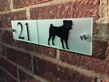 MODERN HOUSE SIGN PLAQUE DOOR NUMBER FROSTED GLASS ACRYLIC DOG SILHOUETTE CUSTOM