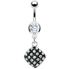 316L Surgical Steel Clear CZ Black Expoxy Gem Dangle Navel Belly Ring