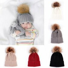 Unisex Baby Kid Toddle Knitted Beanies Caps Fur Ball Pompom Autumn Hat Headwear