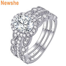 Women's CZ 925 Sterling Silver Halo Oval Cut Engagement Wedding Ring Set Sz 5-10