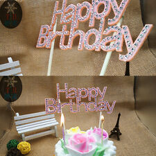 Happy Birthday Party Cake Topper Sign Diamonte Crystal Rhinestone Decorating WK