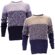 Mens Urban Revival Crew Neck Block Stripe Knitted Jumper Sweater In 2 Colours