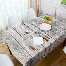 Christmas Retro Wood Grain Cotton Tablecloth Party Banquet Dining Table Cover