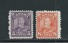 "KING GEORGE V ""ARCH/LEAF"" ISSUE 5 + 8 CENTS # 169 + 172 MH"