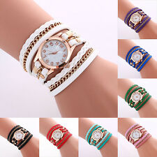 Fashion Women Watch Crystal Leather Strap Braided Bracelet Quartz Wrist Watch
