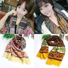 Womens Retro Totem Printed Cotton Scarf Long Voile Shawl Wrap Hot Sale