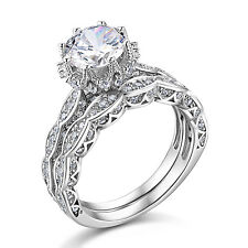 New Round Cut White CZ 925 Sterling Silver Wedding Engagement Ring Set Size 5-10