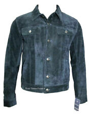 Men's Navy Blue SUEDE 1280 Classic Real Cowhide Western TRUCKER Leather Jacket