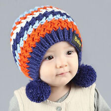 Rainbow Striped Double Ball Wool Hat Warm Hat Beanie Cap For Baby Girl Boy Hot