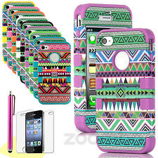 For Apple iPhone 4/4S Shockproof Aztec Tuff Tribal Hybrid Hard Skin Case Cover