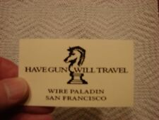 HAVE GUN WILL TRAVEL BUSINESS CARD OFF WHITE