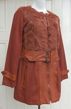 NEW Boutique style Faux Fur & Wool mix Jacket / Coat Rust 12/14 & 14/16