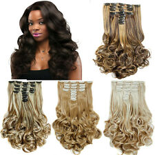 Long Curly Clip In Hair Extensions Natural Synthetic Clip In Hair 8pcs 24inch