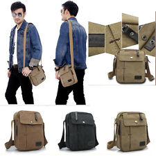 Men's Vintage Canvas Leather Satchel Military School Shoulder Bag Messenger Bag