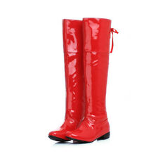 Womens Motorcycle Patent Leather Over The Knee Pull On Cosplay Riding Boots#PUNK