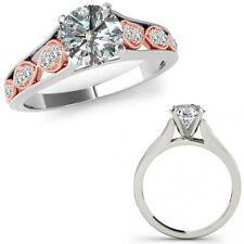 0.75 Carat Diamond Filigree Solitaire Halo Anniversary Ring Band 14K Rose Gold