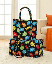 Large Quilted Luggage Bag Tote Duffel Elephant Print Travel Weekender Overnight