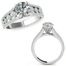 1.25 Carat Diamond Beautiful Solitaire Halo Engagement Ring Band 14K White Gold