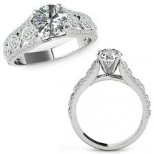 1 Carat Diamond Lovely Solitaire Halo Wedding Fancy Ring Band 14K White Gold