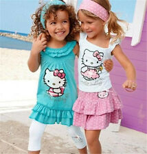Hello Kitty Baby 2y Girl Suits Cotton Set Headband+Dress+Pants Children Clothing