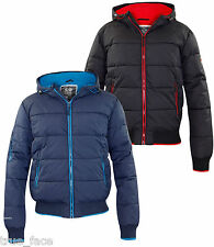 New Mens Crosshatch Padded Jacket Quilted Hooded Fleece Lined Winter Zip Coat