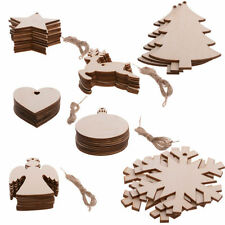 Xmas Plain Blank Wooden Shapes Craft Ornament Christmas Tree Hanging Decorations