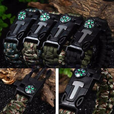 5 in1 Paracord Survival Bracelet Rope Compass Flint Fire Starter Scraper Whistle