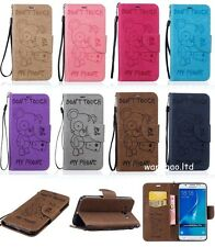 Fashion Bear Style Embossed Wallet Flip PU Leather Case TPU Cover For Samsung BF