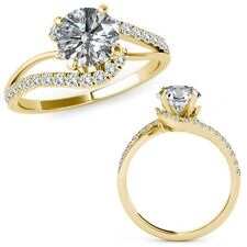 0.75 Carat Diamond By Pass Solitaire Halo Engagement Ring Band 14K Yellow Gold