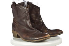 Frye Womens Brown Distressed Cowboy Boots Sz 10B Leather Heels Shoes