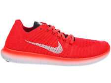 NEW MENS NIKE FREE RN FLYKNIT RUNNING SHOES TRAINERS BRIGHT CRIMSON / BLACK / UN