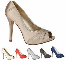 Ladies Evening Peep Toe Sandals Stylish Diamante Wedding Prom Party Shoes Size