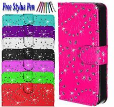 Bling Diamond Magnetic Flip Wallet PU Leather Case Cover For Apple iPhone SE UK