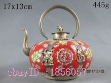 China Collectible handwork Red porcelain teapot Silver Monkey lid