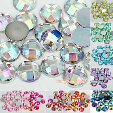 1000pcs AB Color 5-12mm Acrylic Round Facet Flat Back Rhinestone Scrapbook Craft