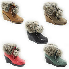 WOMENS LADIES MID WEDGE HEEL POMPON FUR LINED ANKLE BOOTS SHOES SIZE 3-8