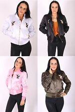 Ladies Eagle Embroidered Satin Bomber Jacket Zip Up Womens Biker Coat