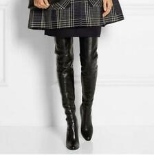 Leather High Heel Block Chic Womens Knight Over The Knee Thigh High Boot Shoes
