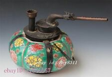 Collectible Decorated Old Copper & Porcelain Carved Flower Pumpkin Smoking Pipe