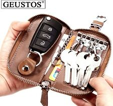 GEUSTOS Unisex Genuine Leather Car Key Case Zipper Wallet Card Holder Key bag