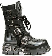 NEWROCK 107-S2 BLACK SILVER SKULL FULL DEVIL METALLIC GOTH STYLE LEATHER BOOTS