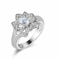 Women's Flower AAA CZ 925 Sterling Silver Wedding Band Engagement Ring Size 5-10