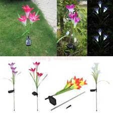Outdoor Solar Power Lily LED Garden Yard Stake Path Lamp Night Light 3 Colors