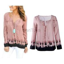 Sexy V Neck Casual Blouse Loose T-shirt Tee Lady Women Fashion Long Sleeve Tops