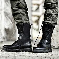 Mens Army Boots cow leather Gothic Punk Booties Lace Up High Top Military Shoes