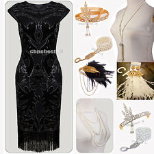 Vintage 1920's Flapper Dress Gatsby Downton Abbey Fringe Sequin Tassels Costumes