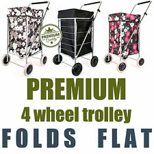 Premium 4 Wheel Shopping Trolley with Adjustable Handle Folding Flat Cage